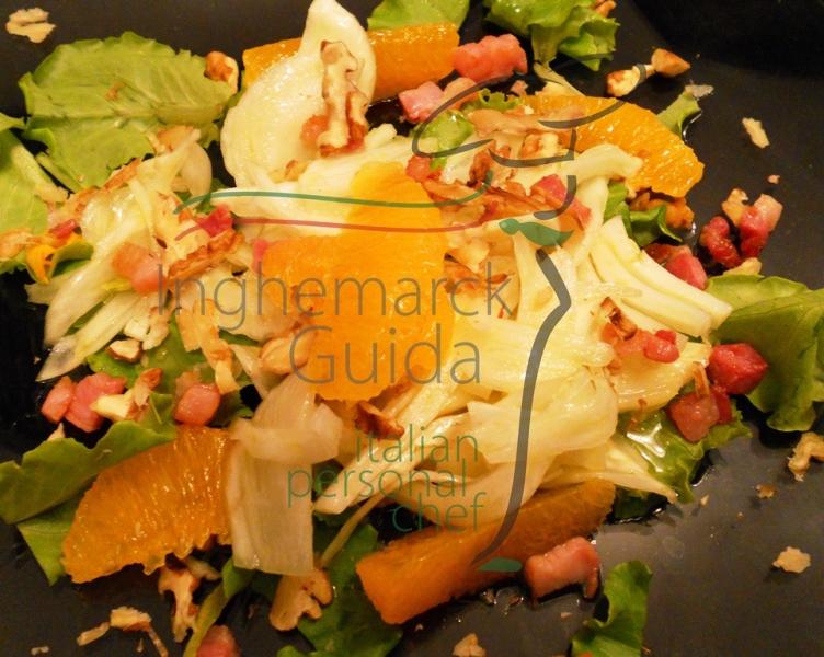 Insalata di lattughino, finocchio e arance.